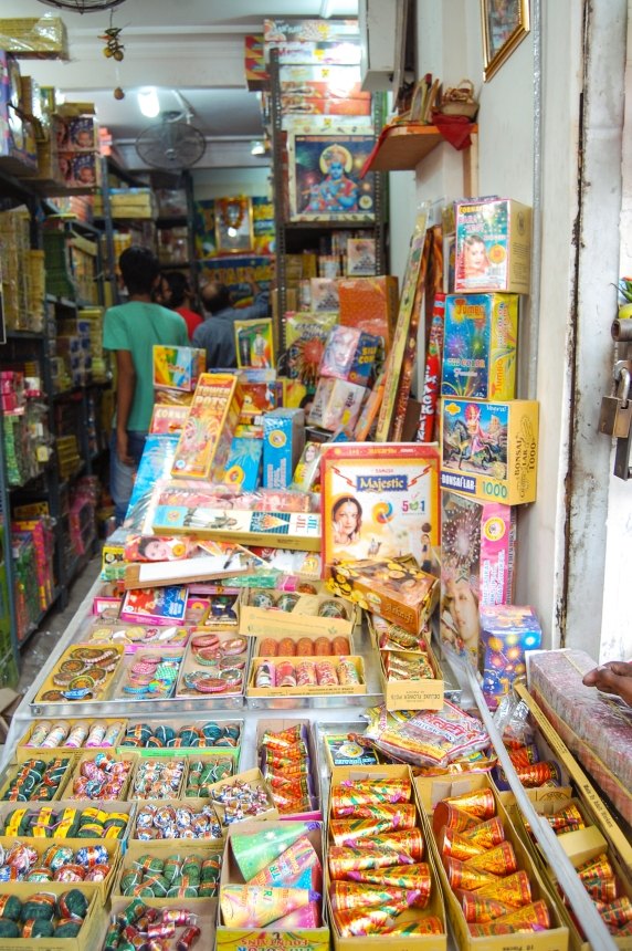 Varieties of crackers in one of the shops of Patake Wali Gali of Chandni Chowk.